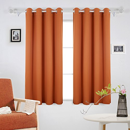 orange and brown living room curtains. deconovo soft solid/plain ready made thermal insulated eyelet blackout curtains for living room with tie backs,66\ orange and brown i