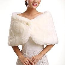 FACILLA®Chal Estola Nupcial Bolero Piel Sintético Blanco para Novia Mujer Boda Wedding