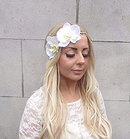 Large Ivory Cream Orchid Flower Garland Headband Hair Crown Festival Boho 2542 *EXCLUSIVELY SOLD BY STARCROSSED