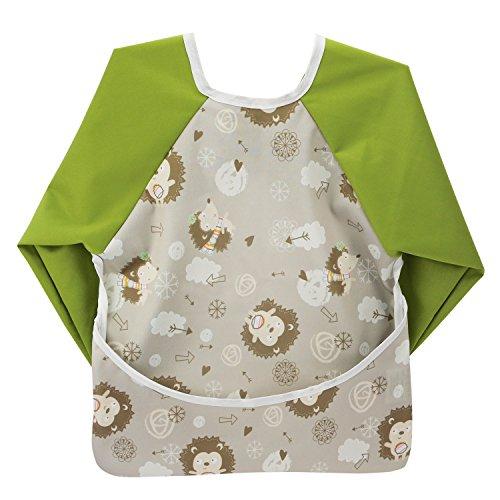 Hisprout Unisex Infant Kleinkind Baby Super Wasserdicht Lätzchen mit Ärmeln, wiederverwendbar Lätzchen mit Ärmeln & Pocket, Multi Muster, 6-24 Monate