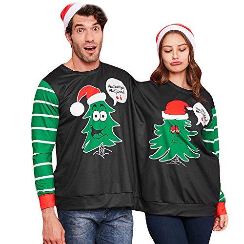 NPRADLA 2018 Weihnachten Bluse Freches Doppeltes Weihnachten Pullover Sweatshirt Doppeltes Spitzenstreifen Oberteile(L/86,Schwarz)