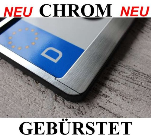 2 Chrom Kennzeichenhalter Chrom Gebürstet Kennzeichenhalterung Chrome NEU inkl. Montageanleitung , 4 Befestigungsschrauben und neue KFZ Schein Schutzhülle.