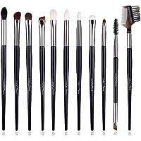 Brochas de maquillaje EMOCCI, 11 piezas, brochas de maquillaje, brochas para difuminar la cara, polvos, correctores, sombras de ojos, maquillaje, kit de brochas (negro)