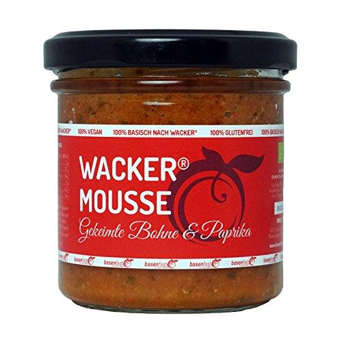 Wacker Mousse Gekeimte Bohne & Paprika Bio, 135g. Vegan und glutenfrei. Der mediterrane basische Brotaufstrich und Dip von Sabine Wacker.