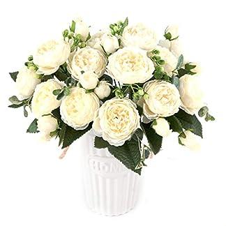 XONOR 3 Ramos de Flores de Seda de peonía Artificial Falsa Flor Gloriosa para el Banquete de Boda Nupcial decoración del hogar, 5 Tenedores, 9 Cabeza