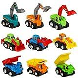 TONZE Macchinine Bambini Mini Auto Giocattolo Modellini Bulldozer Escavatore Giochi Veicoli per Bambini 3 Anni, 9 Pezzi