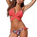 Evedaily Damen Push Up Bikini Set Neckholder Strappy Bandeau Bademode Badebekeidung Strand Badeanzug Gepolstert Blumen Druck (Wassermelonenrot+Mustern, S)