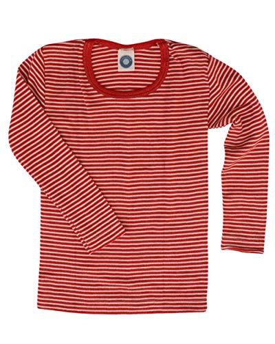 Cosilana Kinder Unterhemd Größe 116 in geringelt Rot-Natur - Verkauf von Wollbody