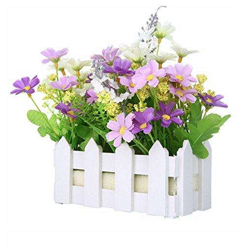 jarown Mini weiß Lattenzaun-Set–Silk Dasiy Künstliche Blumen Fake Pflanzen Bonsai für Büro Partition Dekoration violett (Silk Tisch-pflanzen)