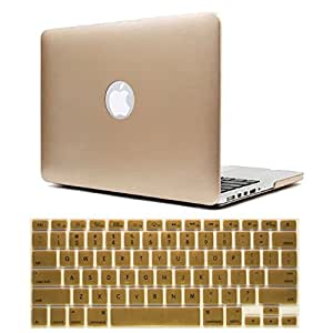 """IDACA Gold Frosted Matte Hard Shell Case for MacBook Pro 13"""" A1278 Aluminum Unibody with Silicone Keyboard Cover Skin Stickers Protector (USA KEYBOARD VERSION)"""