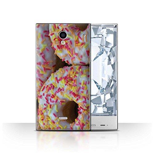 Stuff4 Hülle / Case für Sharp Aquos Crystal/306SH / Weiß Glasiert Muster / Schmackhafte Donuts - Schale Zucker Crystal