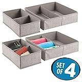 mDesign 4er-Set Stoffbox für Schrank oder Schublade – die ideale Aufbewahrungsbox für Wäsche, Handtaschen etc. – flexibel verwendbare Stoffkiste mit 2 Fächern – Leinen