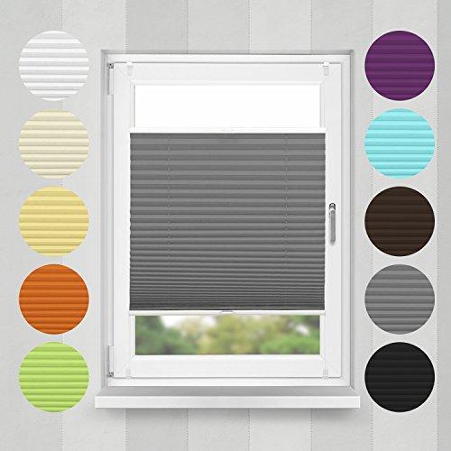 Home-Vision Plissee Faltrollo ohne Bohren mit Klemmträger / -fix (Graphit, B90cm x H100cm) Blickdicht Sonnenschutz Jalousie für Fenster & Tür