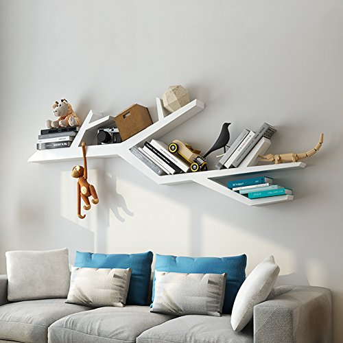 Bücherregale WSSF- Wand Großer Baum-Form-Holz-Schindel-Brett an der Wand befestigtes Sofa...