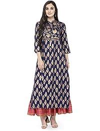 Varanga Deep Blue Gold Printed Kurta With Pink Printed Skirt KFF-VAR118096_PZ21029