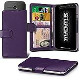 Aventus (Dark Purple) Motorola Moto X Play / Moto X Dual-Play-SIM-Premium-PU-Leder Universal Hülle Spring Clamp-Mappen-Kasten mit Kamera Slide, Karten-Slot-Halter und Banknoten Taschen