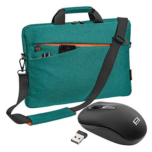 """PEDEA Notebooktasche """"Fashion"""" für 17,3 Zoll (43,9cm) mit Zubehörfach, Schultergurt und schnurloser Maus, türkis"""