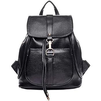 300001f163 Sac à dos en cuir d'unité centrale de mode noire pour le sac à dos  occasionnel des femmes filles sac à dos de sac à dos