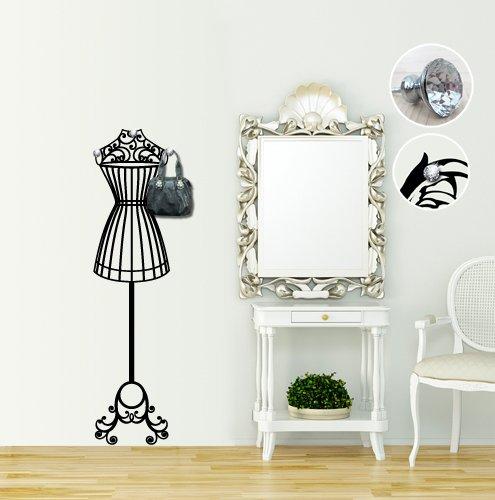 00523 Adesivo murale con pomelli stile Swarovski per appendiabiti Wall Art - Atelier appendiabiti gioiello - Misure 39x160 cm - nero - Decorazione parete, adesivi per muro, carta da parati