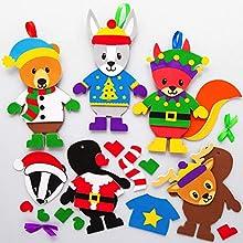 Baker Ross AX462 Kit D'Artisanat De Pull De Noël Animaux Des Bois - Lot De 8, Décorations D'Art De Noël Pour Enfants.