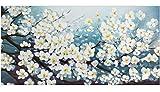 KunstLoft Gemälde 'Glamour in White' in 140x70cm | Leinwandbild handgemaltes Bild | Blüte Blume Weiß deko Blütenmix Wohnzimmer | Wandbild-Unikat | Acrylgemälde auf Leinwand | Acrylbild auf Keilrahmen