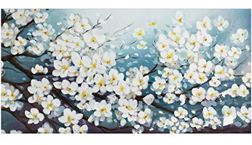 KunstLoft® Gemälde \'Glamour in White\' in 140x70cm   Leinwandbild handgemaltes Bild   Blüte Blume Weiß deko Blütenmix Wohnzimmer   Wandbild-Unikat   Acrylgemälde auf Leinwand   Acrylbild auf Keilrahmen