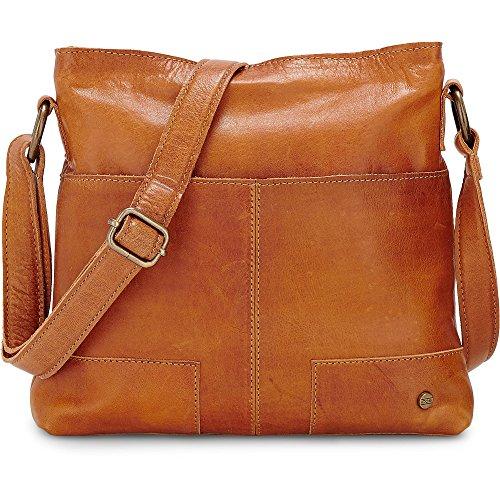 Cox Damen Damen Umhänge-Tasche aus Leder, Hand-Tasche in Braun mit verstellbarem Schulterriemen (25,5 x 25 x 4 cm) braun OneSize