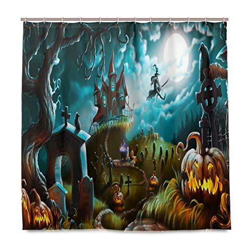 Wamika Halloween Graveyard Badezimmer Duschvorhang Liner Home Decor Herbst Schloss Hexe Mond Design Durable Stoff Schimmelresistent Wasserdicht Badewanne Vorhang mit 12 Haken 183,0 cm x 183,0 cm (Hexe Badezimmer Abdeckung)