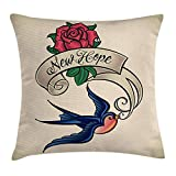 tgyew Tattoo Decor Throw Pillow Cushion Cover, Rennaissance Writer Inspired Feather Pen Draws a Red Simple Heart Artwork, Decorative Square Accent Pillow Case, 18 X 18 inches, Red and Black