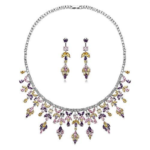 AnaZoz Bijoux Parurus Fantaisie Femme Collier Argent Elégant Design Feuille Cristal Boucles d'Oreilles & Collier Sets Jaune Violet Rose