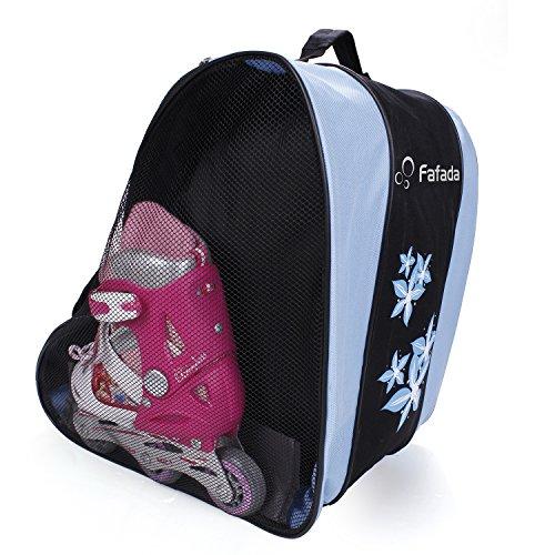 Fafada Tasche für Skateschuhe Schlittschuhe Rollschuhe Eislauf Bag Hülle schwarz + blau 35 x 30 x 39 cm