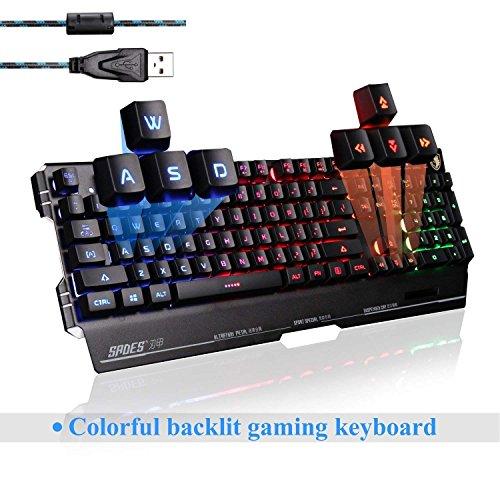 Sades K8 USB cable PC juego teclado de la computadora 19 no conflicto llaves de metal caso 7 colores negra (negro)