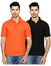 ANSH FASHION WEAR Regular Fit Polo T-shirt Combo For Men - Half Sleeves Casual Men's Polo - Set Of Two - Orange...