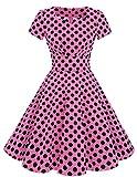 Dresstells Damen Vintage 50er Rockabilly Kurzarm Swing Kleider Partykleid Pink Black Dot L