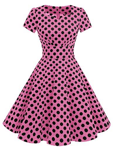 Dresstells Damen Vintage 50er Rockabilly kurzarm Swing Kleider Partykleid Pink Black Dot S