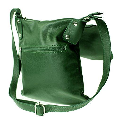 a50454e04f619 Echt Leder Umhängetasche Damen Tasche Handtasche Ledertasche Schultertasche  (braun) dunkelgrün