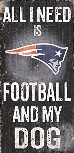 Hall of Fame Memorabilia New England Patriots Holz Schild-Fußball und Hund 15,2x 30,5cm -