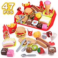 GILOBABY Children Pretend Role Play Toys, Educational Food Toys for Toddler Girl Boy, Toys Gift for 3 Year Old+, Kids Preschool Learning toys, Kitchen Toy, Hamburger, Hotdog, Cutting Fruit, Ice Cream