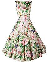 Babyonline Vintage 1950's 50s Audrey Hepburn Floral Print Rockabilly Prom Party Dress
