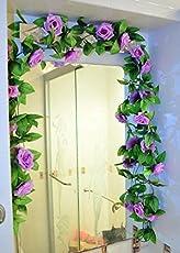 Leoie Artificial Fake Rose,Silk Flower Green Leaf Vine Garland Ivy Vine Hanging Garland Home Wall Party Decor