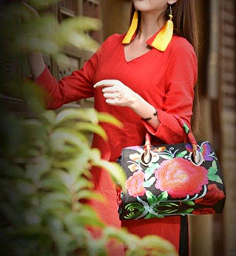 QPALZM QPALZM Handtasche Frau 2017 Handtasche Stickerei Messery Tasche Handtasche Umhängetasche Leinwand A7