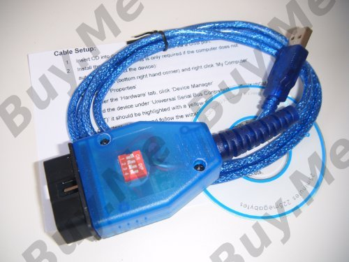 Price comparison product image Alfa Fiat ODB2 USB Diagnostic Lead KKL (VAG-COM) with 4 way Switch; designed for use with FiatECUScan, MultECUScan and AlfaDiag; Engine ECU, Airbag, ABS, Power Steering
