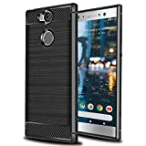 Ferlinso für Sony Xperia XA2 Ultra Hülle, Leicht Flexible Rugged Armor Hybrid Defender Shockproof Schutzhülle Carbon Fiber Design Cover für Sony Xperia XA2 Ultra (Schwarz)