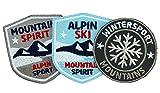 Club-of-Heroes 3er-Set, Stick-Abzeichen/Alpin Ski Wintersport/Applikation, Aufnäher, Aufbügler, Aufkleber, Bügelbild, Patch für Kleidung, Rucksäcke, Taschen/Skifahren, Bergsteigen, Winter