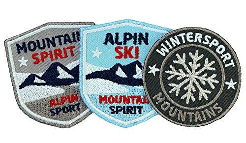 3er-Set, Stick-Abzeichen / Alpin Ski Wintersport / Applikation, Aufnäher, Aufbügler, Aufkleber, Bügelbild, Patch für Kleidung, Rucksäcke, Taschen / Skifahren, Bergsteigen, Winter