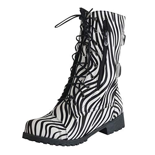 POLP Botas Militares Mujer Invierno Botines Mujer Tacon Medio Zapatos de Tacón con Cordones Zapatilla...