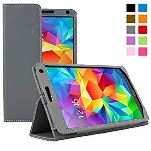 Snugg Galaxy Tab S 8.4 Case - Smart Cover with Flip Stand & Lifetime Guarantee (Grey Leather) for Samsung Galaxy Tab S 8.4