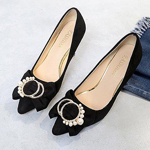 DIMAOL Scarpe Donna Cashmere Comfort Molla Tacchi Stiletto Heel Punta per Bowknot Abito Rosa Rosso Nero Grigio Nero
