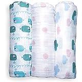 Langes pour bébés en mousseline Emma & Noah, lot de 3 pièces, 100% coton, 80 cm x 80 cm, bavoir pour bébés tendre et doux, parfait comme couches en tissu, couverture pour poussette, linge en molleton