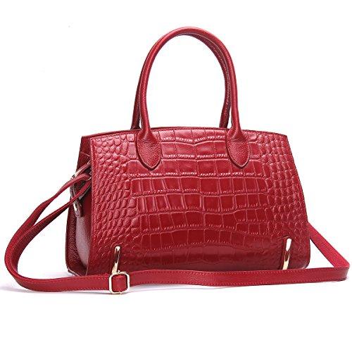 Contacts Frauen echtes Leder Crossbody Tasche Messenger Schultertasche Handtasche Rot